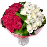 bouquet of roses (25 red+25 white r...