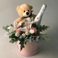 Present Basket with Flowers 75